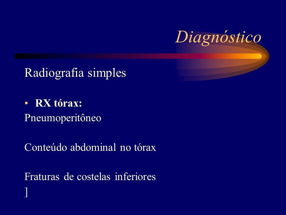 Diagnóstico Radiografia simples RX tórax: Pneumoperitôneo Conteúdo abdominal no tórax Fraturas de costelas inferiores ]