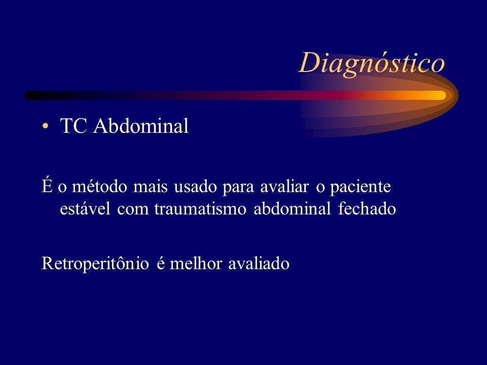 TC Abdominal É o método mais usado para avaliar o paciente estável com traumatismo abdominal fechado Retroperitônio é melhor avaliado