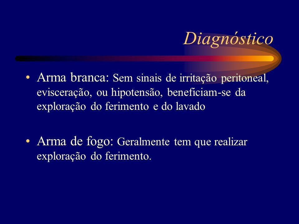Diagnóstico Arma branca: Sem sinais de irritação peritoneal, evisceração, ou hipotensão, beneficiam-se da exploração do ferimento e do lavado Arma de