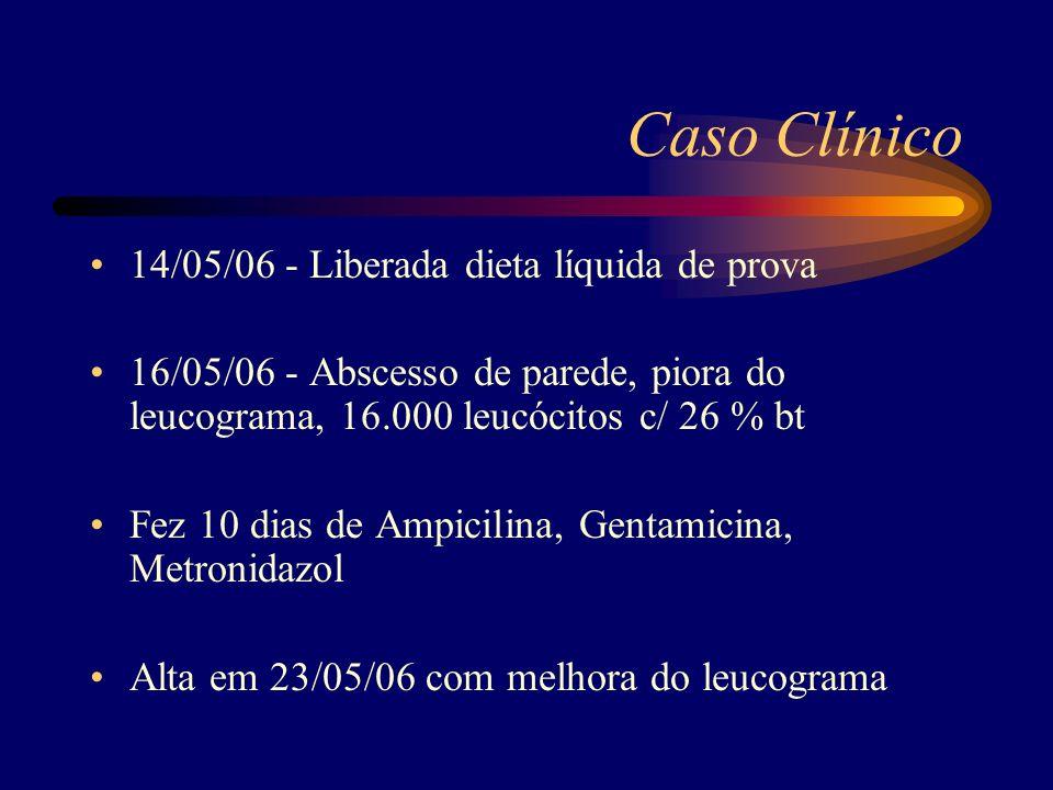 Caso Clínico 14/05/06 - Liberada dieta líquida de prova 16/05/06 - Abscesso de parede, piora do leucograma, 16.000 leucócitos c/ 26 % bt Fez 10 dias d