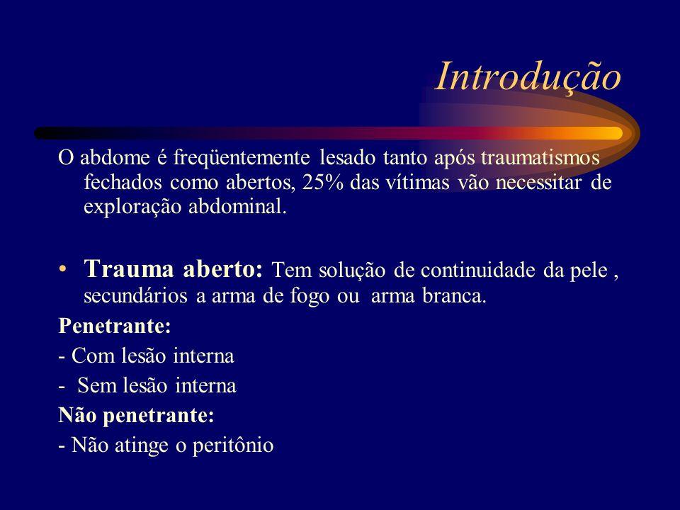 Introdução O abdome é freqüentemente lesado tanto após traumatismos fechados como abertos, 25% das vítimas vão necessitar de exploração abdominal. Tra