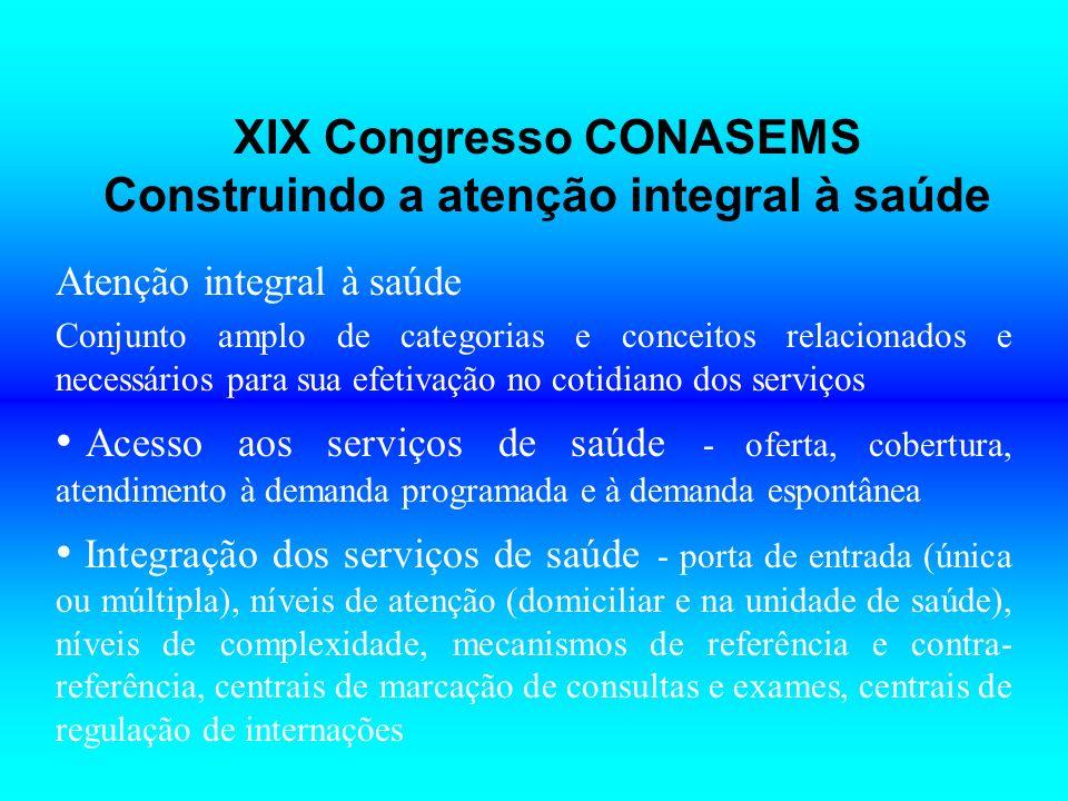 XIX Congresso CONASEMS Construindo a atenção integral à saúde Atenção integral à saúde Conjunto amplo de categorias e conceitos relacionados e necessá