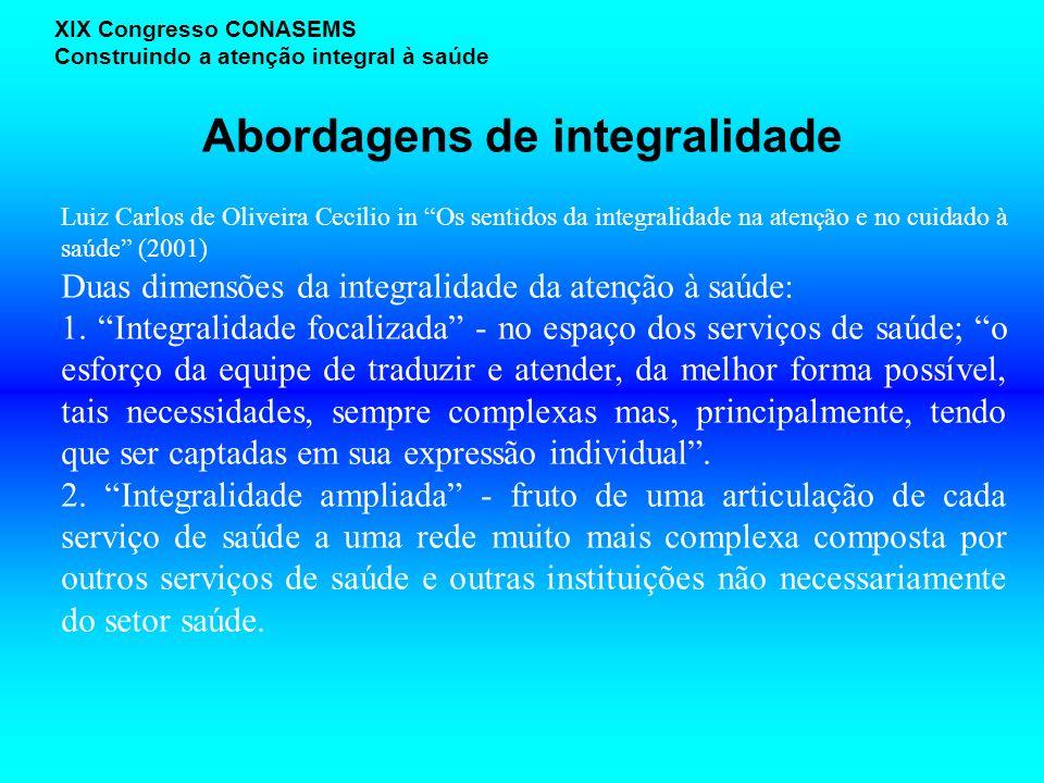 Abordagens de integralidade XIX Congresso CONASEMS Construindo a atenção integral à saúde Luiz Carlos de Oliveira Cecilio in Os sentidos da integralid