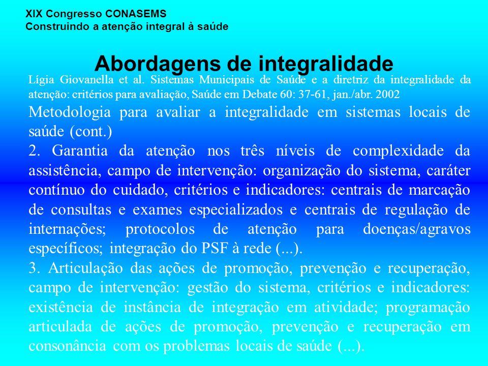 Abordagens de integralidade XIX Congresso CONASEMS Construindo a atenção integral à saúde Lígia Giovanella et al.