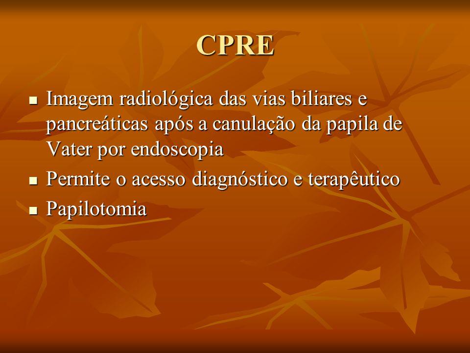 CPRE Imagem radiológica das vias biliares e pancreáticas após a canulação da papila de Vater por endoscopia Imagem radiológica das vias biliares e pan