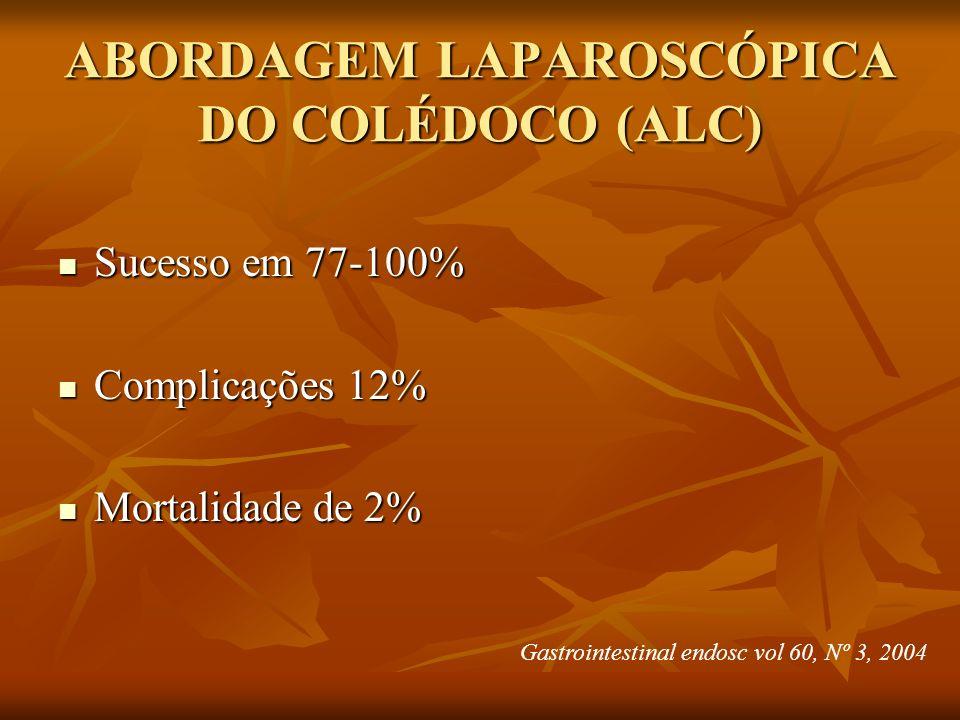 ABORDAGEM LAPAROSCÓPICA DO COLÉDOCO (ALC) Sucesso em 77-100% Sucesso em 77-100% Complicações 12% Complicações 12% Mortalidade de 2% Mortalidade de 2%