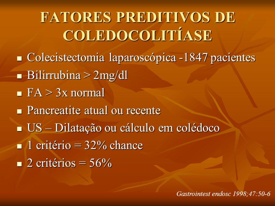 FATORES PREDITIVOS DE COLEDOCOLITÍASE Colecistectomia laparoscópica -1847 pacientes Colecistectomia laparoscópica -1847 pacientes Bilirrubina > 2mg/dl