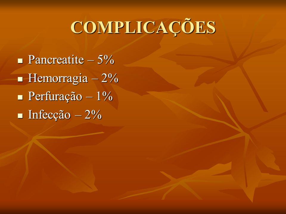 COMPLICAÇÕES Pancreatite – 5% Pancreatite – 5% Hemorragia – 2% Hemorragia – 2% Perfuração – 1% Perfuração – 1% Infecção – 2% Infecção – 2%