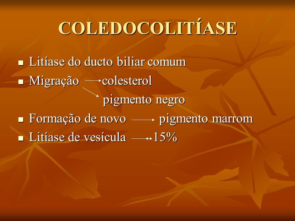 COLEDOCOLITÍASE Litíase do ducto biliar comum Litíase do ducto biliar comum Migração colesterol Migração colesterol pigmento negro pigmento negro Form