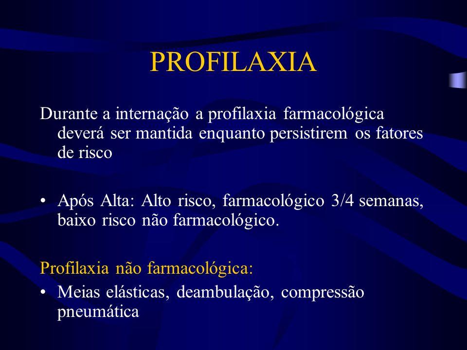 Durante a internação a profilaxia farmacológica deverá ser mantida enquanto persistirem os fatores de risco Após Alta: Alto risco, farmacológico 3/4 s