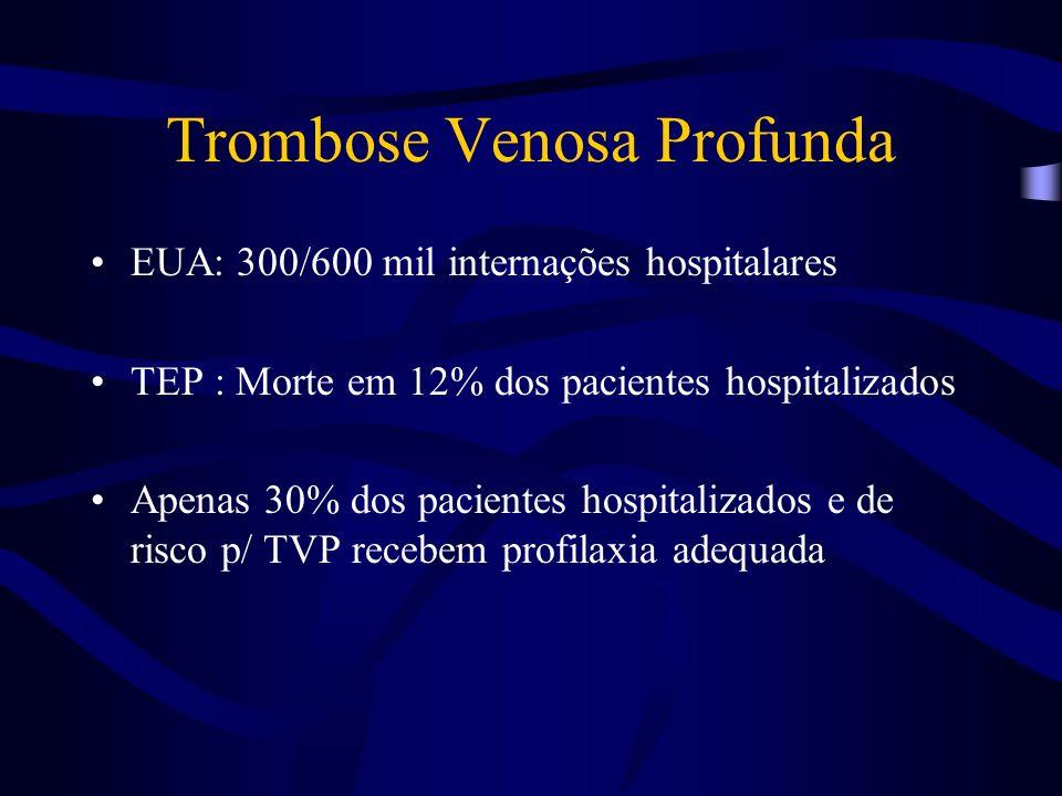Trombose Venosa Profunda EUA: 300/600 mil internações hospitalares TEP : Morte em 12% dos pacientes hospitalizados Apenas 30% dos pacientes hospitaliz