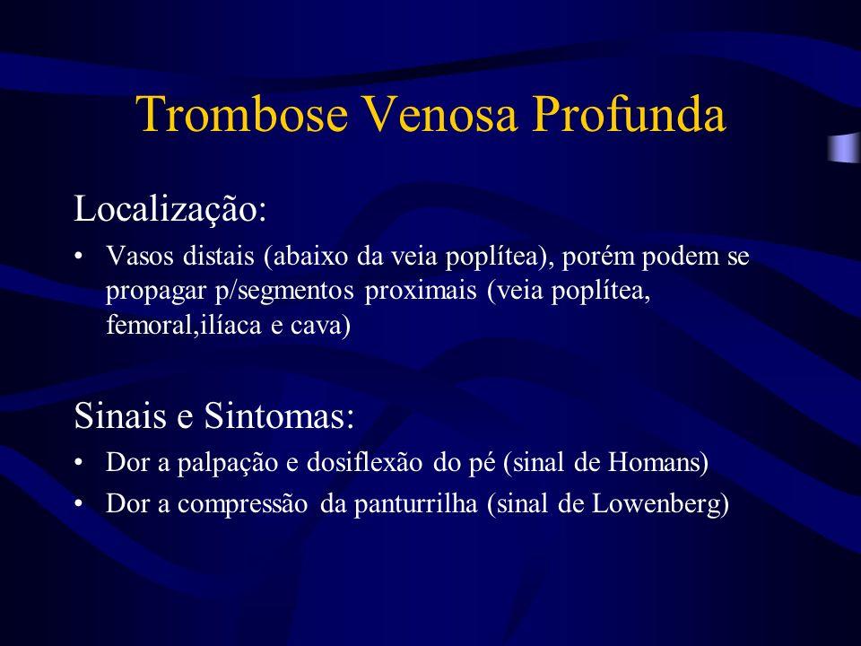 Trombose Venosa Profunda Localização: Vasos distais (abaixo da veia poplítea), porém podem se propagar p/segmentos proximais (veia poplítea, femoral,i