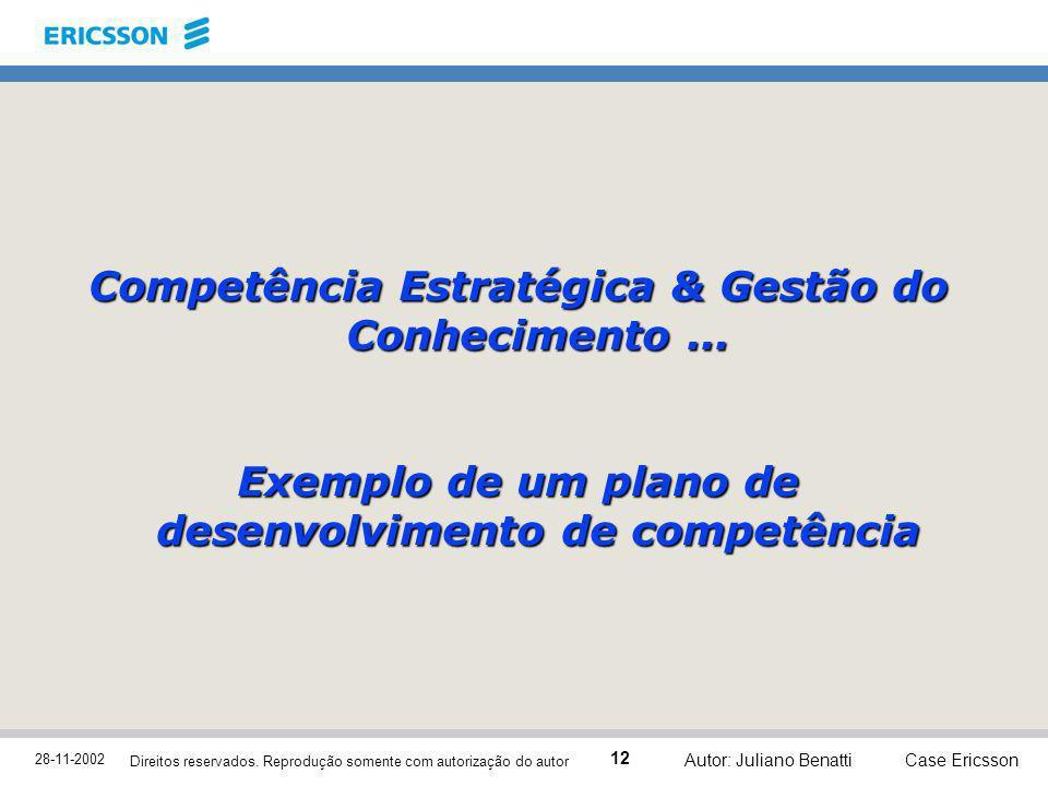 28-11-2002 Case Ericsson 12 Direitos reservados. Reprodução somente com autorização do autor Autor: Juliano Benatti Competência Estratégica & Gestão d