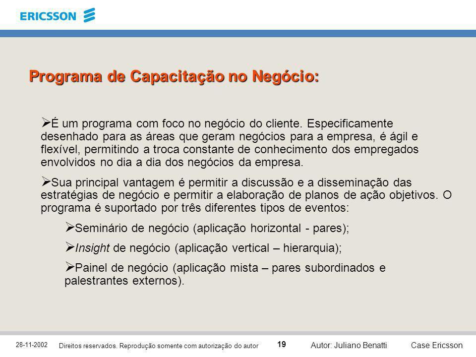 28-11-2002 Case Ericsson 19 Direitos reservados. Reprodução somente com autorização do autor Autor: Juliano Benatti Programa de Capacitação no Negócio