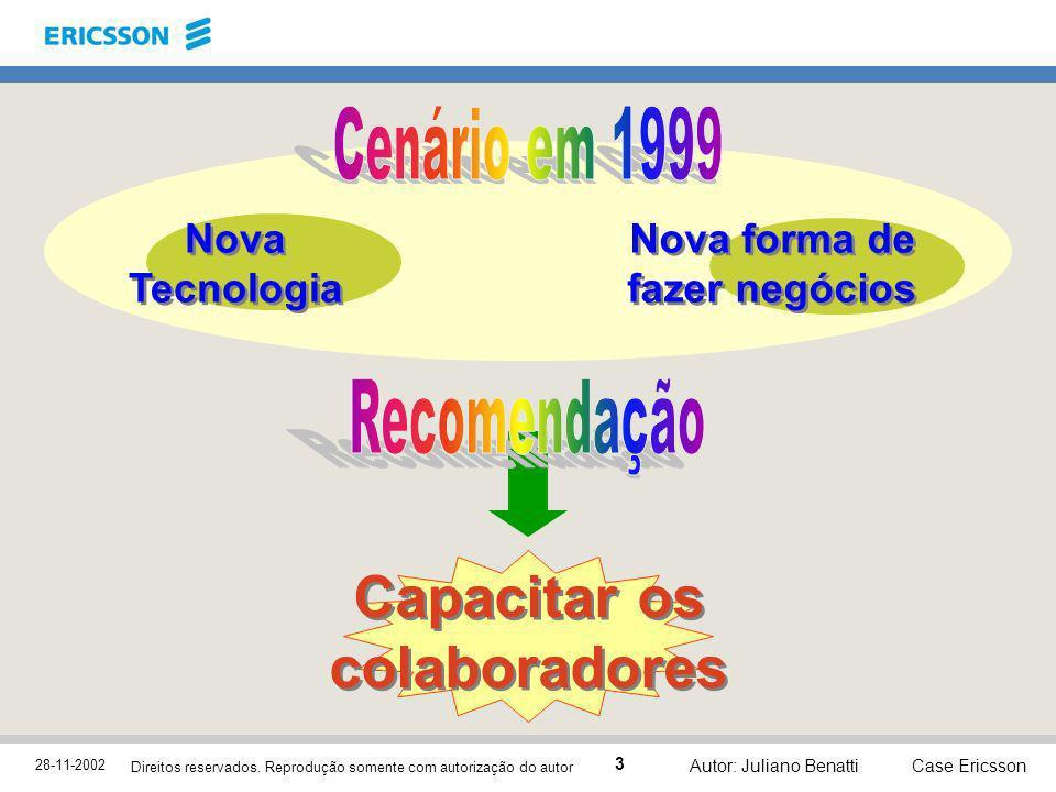 28-11-2002 Case Ericsson 3 Direitos reservados. Reprodução somente com autorização do autor Autor: Juliano Benatti Capacitar os colaboradores Nova Tec
