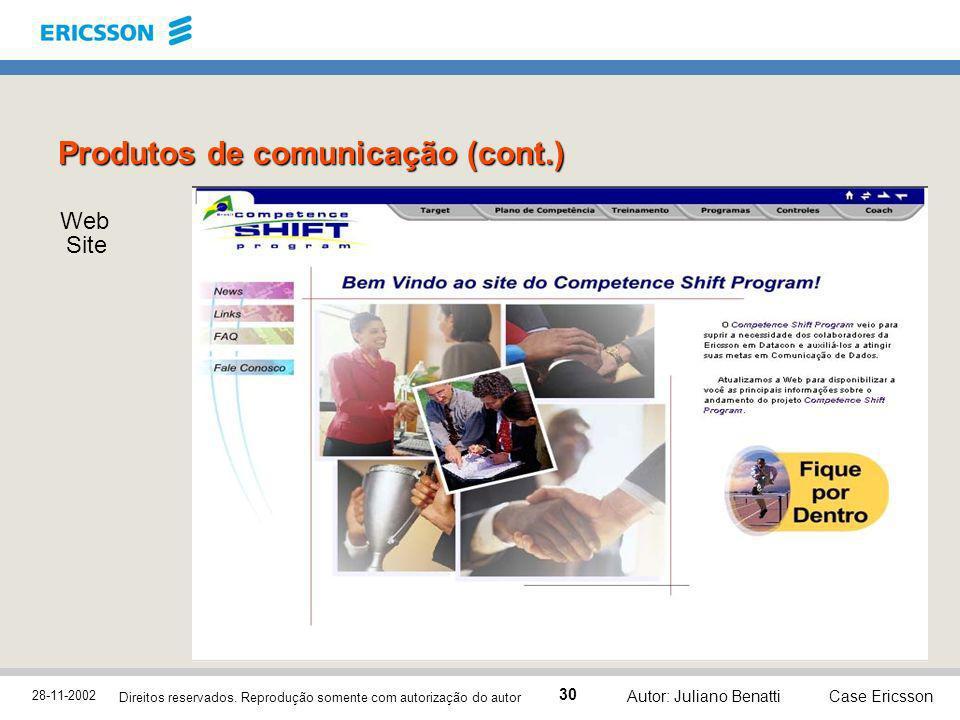 28-11-2002 Case Ericsson 30 Direitos reservados. Reprodução somente com autorização do autor Autor: Juliano Benatti Web Site Produtos de comunicação (