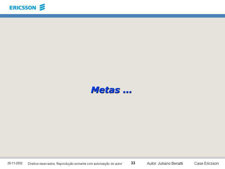 28-11-2002 Case Ericsson 33 Direitos reservados. Reprodução somente com autorização do autor Autor: Juliano Benatti Metas...
