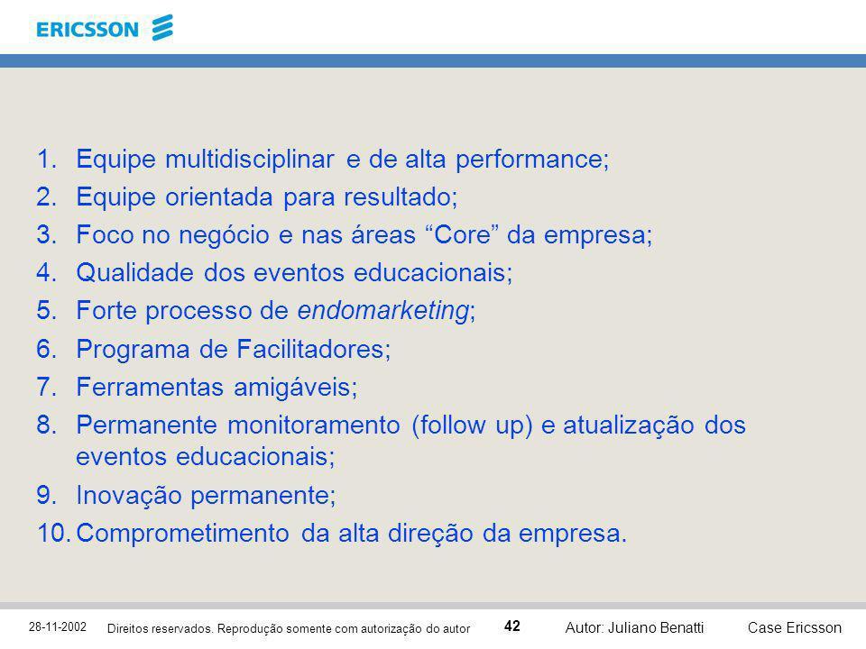 28-11-2002 Case Ericsson 42 Direitos reservados. Reprodução somente com autorização do autor Autor: Juliano Benatti 1.Equipe multidisciplinar e de alt