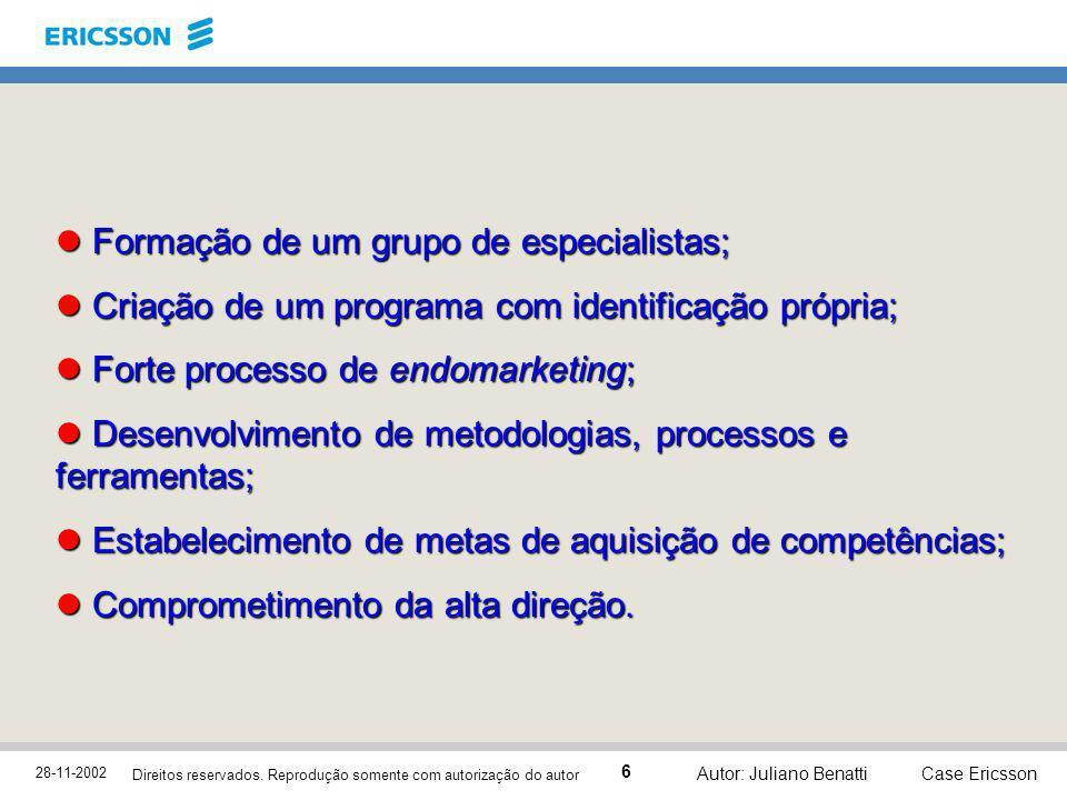 28-11-2002 Case Ericsson 6 Direitos reservados. Reprodução somente com autorização do autor Autor: Juliano Benatti Formação de um grupo de especialist