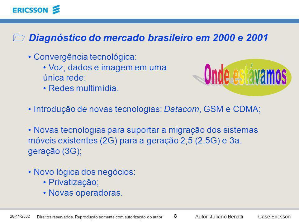 28-11-2002 Case Ericsson 8 Direitos reservados. Reprodução somente com autorização do autor Autor: Juliano Benatti Diagnóstico do mercado brasileiro e