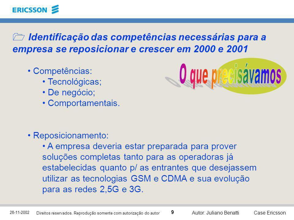 28-11-2002 Case Ericsson 9 Direitos reservados. Reprodução somente com autorização do autor Autor: Juliano Benatti Identificação das competências nece