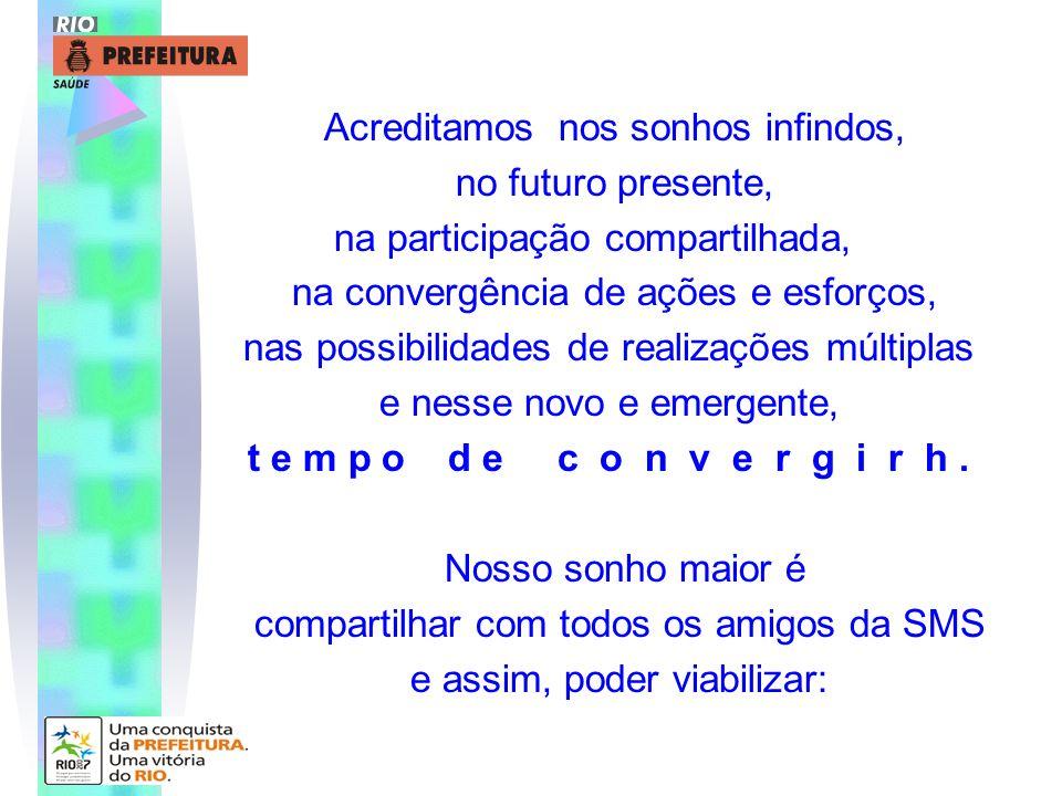 Acreditamos nos sonhos infindos, no futuro presente, na participação compartilhada, na convergência de ações e esforços, nas possibilidades de realiza