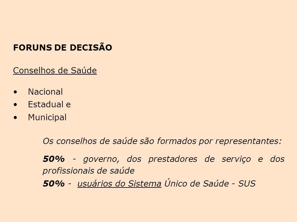 FORUNS DE DECISÃO Conselhos de Saúde Nacional Estadual e Municipal Os conselhos de saúde são formados por representantes: 50% - governo, dos prestador
