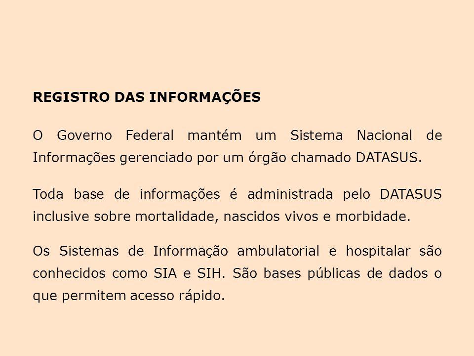 REGISTRO DAS INFORMAÇÕES O Governo Federal mantém um Sistema Nacional de Informações gerenciado por um órgão chamado DATASUS.
