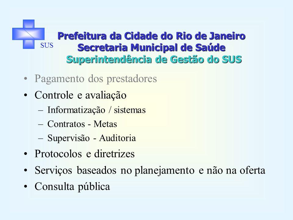 Prefeitura da Cidade do Rio de Janeiro Secretaria Municipal de Saúde Superintendência de Gestão do SUS SUS Pagamento dos prestadores Controle e avaliação –Informatização / sistemas –Contratos - Metas –Supervisão - Auditoria Protocolos e diretrizes Serviços baseados no planejamento e não na oferta Consulta pública