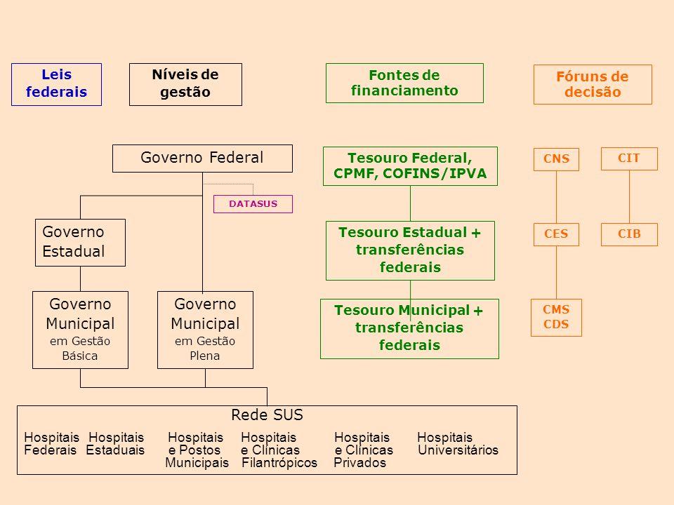 Governo Federal Níveis de gestão Tesouro Federal, CPMF, COFINS/IPVA CIT CNS DATASUS Governo Estadual CIBCES Governo Municipal em Gestão Plena CMS CDS