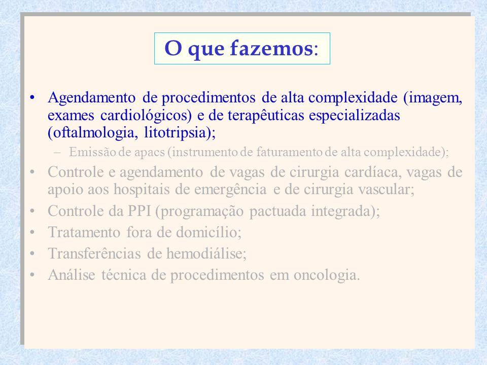 Agendamento de procedimentos de alta complexidade (imagem, exames cardiológicos) e de terapêuticas especializadas (oftalmologia, litotripsia); –Emissão de apacs (instrumento de faturamento de alta complexidade); Controle e agendamento de vagas de cirurgia cardíaca, vagas de apoio aos hospitais de emergência e de cirurgia vascular; Controle da PPI (programação pactuada integrada); Tratamento fora de domicílio; Transferências de hemodiálise; Análise técnica de procedimentos em oncologia.