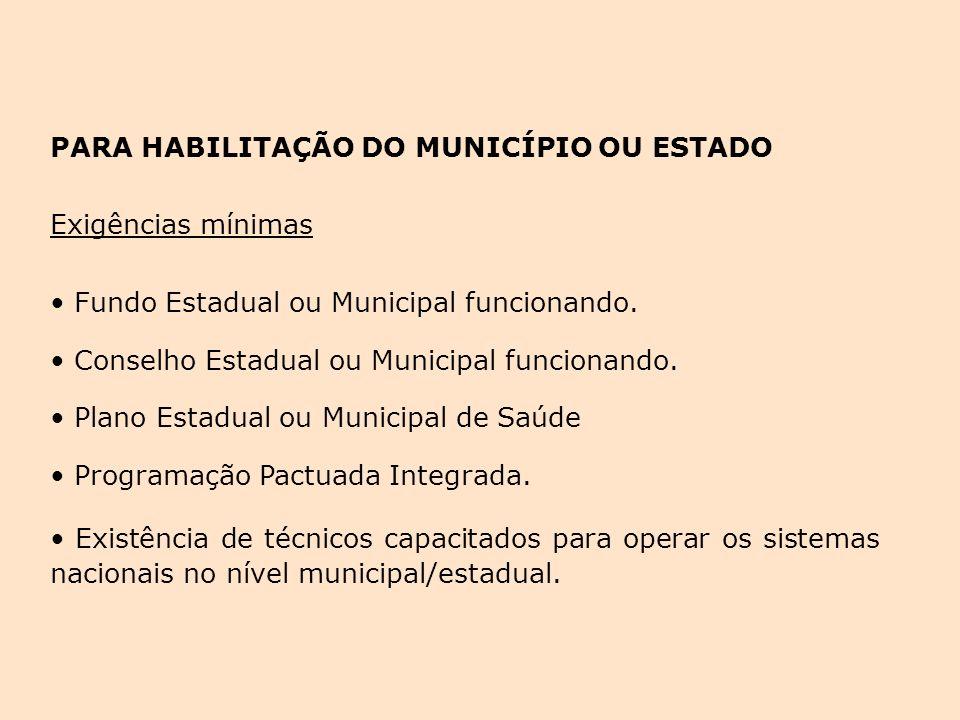 PARA HABILITAÇÃO DO MUNICÍPIO OU ESTADO Exigências mínimas Fundo Estadual ou Municipal funcionando. Fundo Estadual ou Municipal funcionando. Conselho