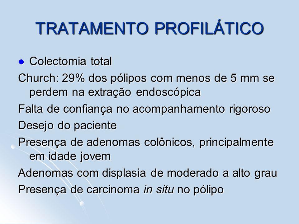 TRATAMENTO PROFILÁTICO Colectomia total Colectomia total Church: 29% dos pólipos com menos de 5 mm se perdem na extração endoscópica Falta de confianç