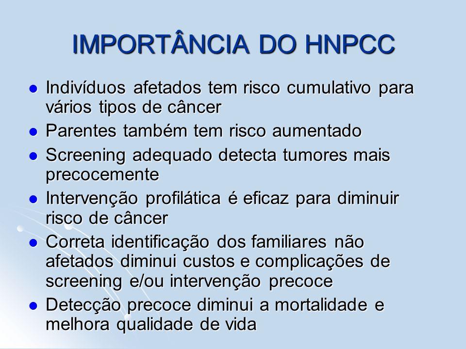 IMPORTÂNCIA DO HNPCC Indivíduos afetados tem risco cumulativo para vários tipos de câncer Indivíduos afetados tem risco cumulativo para vários tipos d
