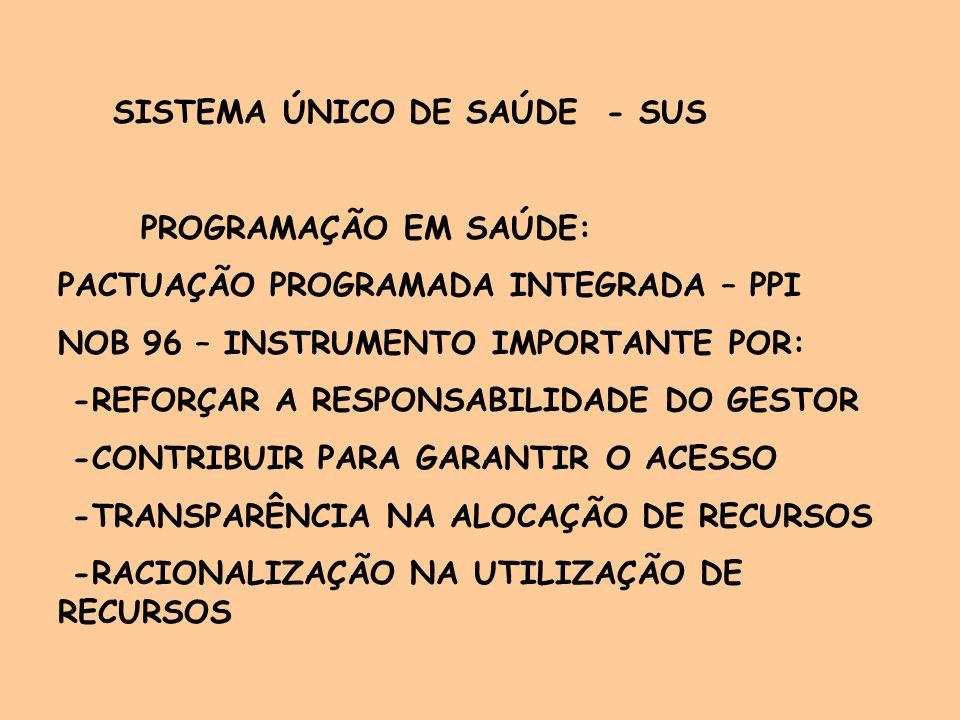 PROGRAMAÇÃO EM SAÚDE (CONT) DESAFIOS PPI: -APERFEIÇOAMENTO E DISSEMINAÇÃO DO INSTRUMENTO -ACOMPANHAMENTO E AVALIAÇÃO PERMANENTE -ESTRUTURAÇÃO DE SETOR DE CONTROLE E AVALIAÇÃO -MAIOR UTILIZAÇÃO DAS INFORMAÇÕES -RESULTADOS PARA TOMADA DE DECISÕES