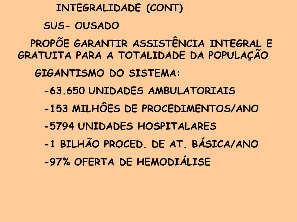 INTEGRALIDADE (CONT) DIRETRIZES PARA 2003: -AMPLIAÇÃO DOS ACESSOS A SERVIÇOS -INTENSIFICAÇÃO DO CONTROLE DAS ENDEMIAS -INVESTIMENTOS EM RECURSOS HUMANOS -ARTICULAÇÃO ENTRE NIVEIS DE ATENÇÃO- REFERÊNCIA E CONTRA-REFERÊNCIA -SAÚDE DA FAMÍLIA- CARRO-CHEFE-DOBRAR O NÚMERO DE EQUIPES EM 4 ANOS