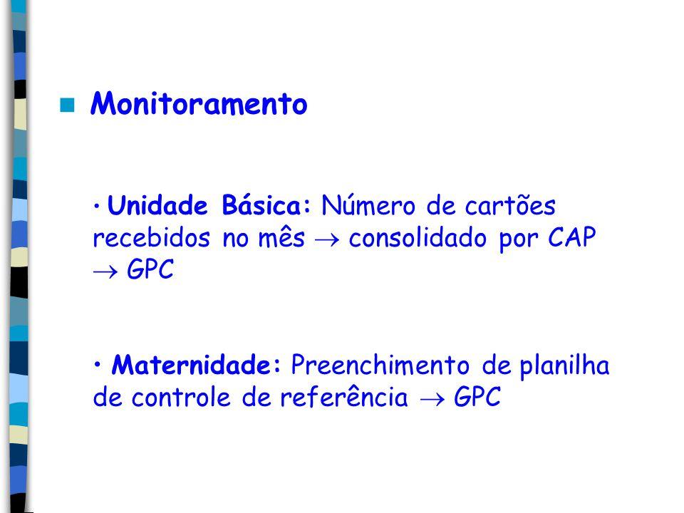 Monitoramento Unidade Básica: Número de cartões recebidos no mês consolidado por CAP GPC Maternidade: Preenchimento de planilha de controle de referência GPC