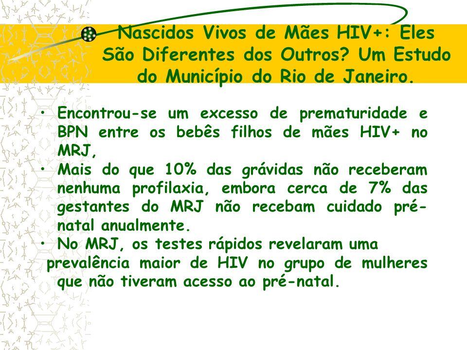 Nascidos Vivos de Mães HIV+: Eles São Diferentes dos Outros? Um Estudo do Município do Rio de Janeiro. Encontrou-se um excesso de prematuridade e BPN