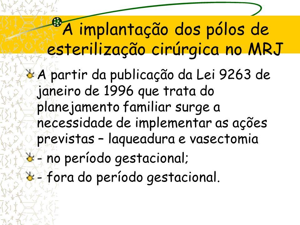 A implantação dos pólos de esterilização cirúrgica no MRJ A partir da publicação da Lei 9263 de janeiro de 1996 que trata do planejamento familiar sur