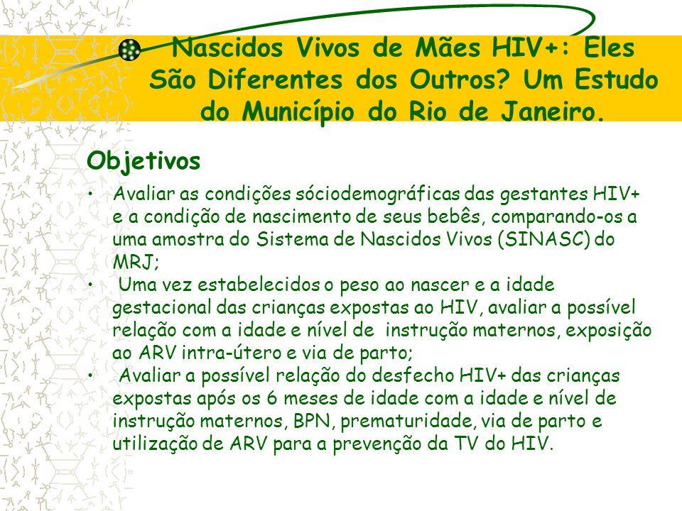 Nascidos Vivos de Mães HIV+: Eles São Diferentes dos Outros? Um Estudo do Município do Rio de Janeiro. Objetivos Avaliar as condições sóciodemográfica