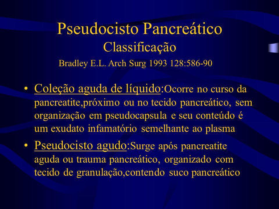 Pseudocisto Pancreático Classificação Coleção aguda de líquido: Ocorre no curso da pancreatite,próximo ou no tecido pancreático, sem organização em ps