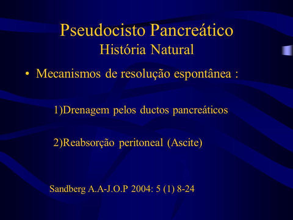 Pseudocisto Pancreático História Natural Mecanismos de resolução espontânea : 1)Drenagem pelos ductos pancreáticos 2)Reabsorção peritoneal (Ascite) Sa