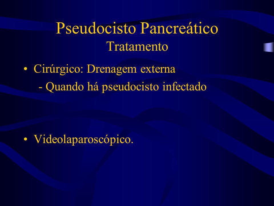Pseudocisto Pancreático Tratamento Cirúrgico: Drenagem externa - Quando há pseudocisto infectado Videolaparoscópico.