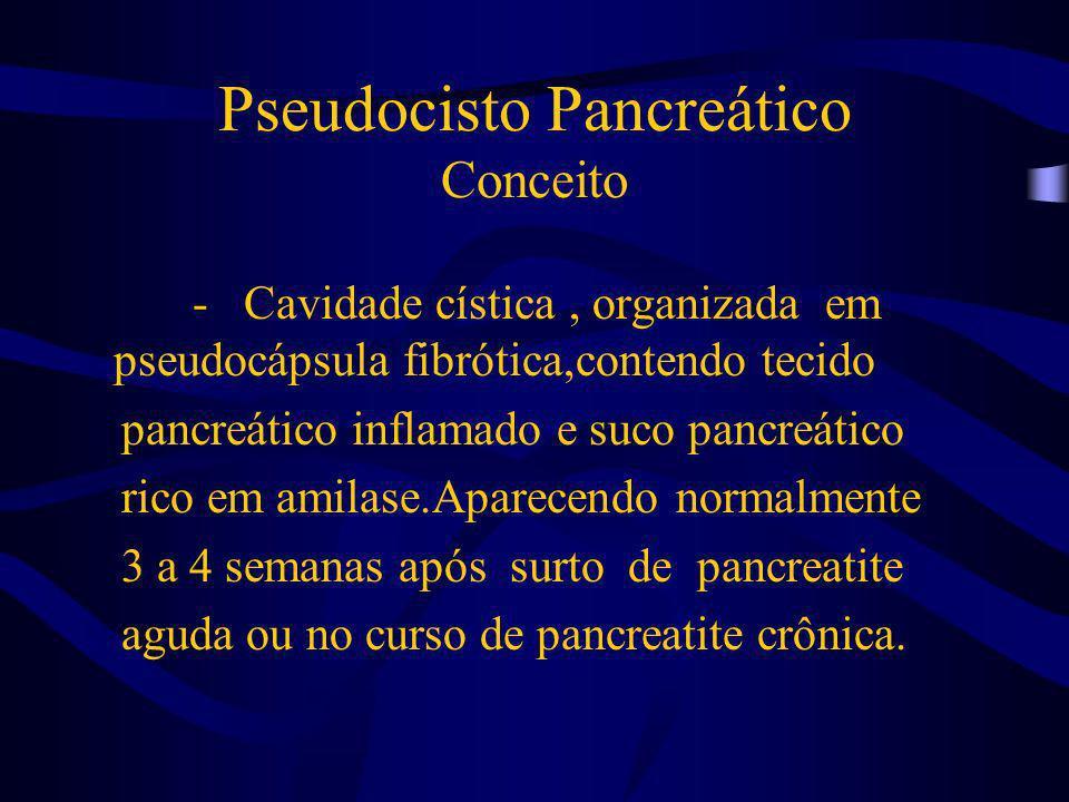 Pseudocisto Pancreático Fisiopatologia Pseudocisto agudoPseudocisto crônico Com antecedente de P.A ou P.C.A Sem antecedente de P.A ou P.C.A Organização do material necrótico + suco pancr., sob a pseudocapsula Estrictura ou cálculo nos ductos pancreáticos obstruindo, dilatando e assim formando pseudoc.