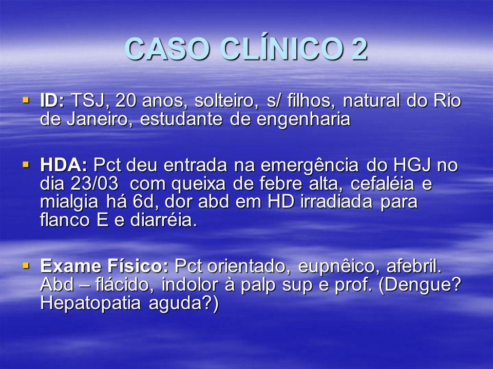 CASO CLÍNICO 2 ID: TSJ, 20 anos, solteiro, s/ filhos, natural do Rio de Janeiro, estudante de engenharia ID: TSJ, 20 anos, solteiro, s/ filhos, natura