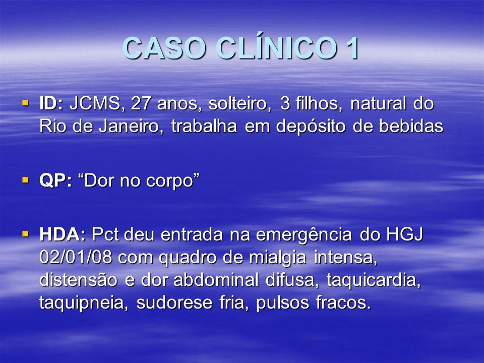 CASO CLÍNICO 2 24/03/08: 24/03/08: Htc 42 Hgb 14,1 Htc 42 Hgb 14,1 Leuc 45300 (0/0/0/0/21/55/17/7) linf atípicos, anisocitose, hipoplaq Leuc 45300 (0/0/0/0/21/55/17/7) linf atípicos, anisocitose, hipoplaq Plaq 46800 BT 3,13 (1,69 BD/1,44 BI) Plaq 46800 BT 3,13 (1,69 BD/1,44 BI) Amilase 64 Cr 1,9 Ur 80 glic 149 Amilase 64 Cr 1,9 Ur 80 glic 149 TGO 3964 TGP 1240 TGO 3964 TGP 1240
