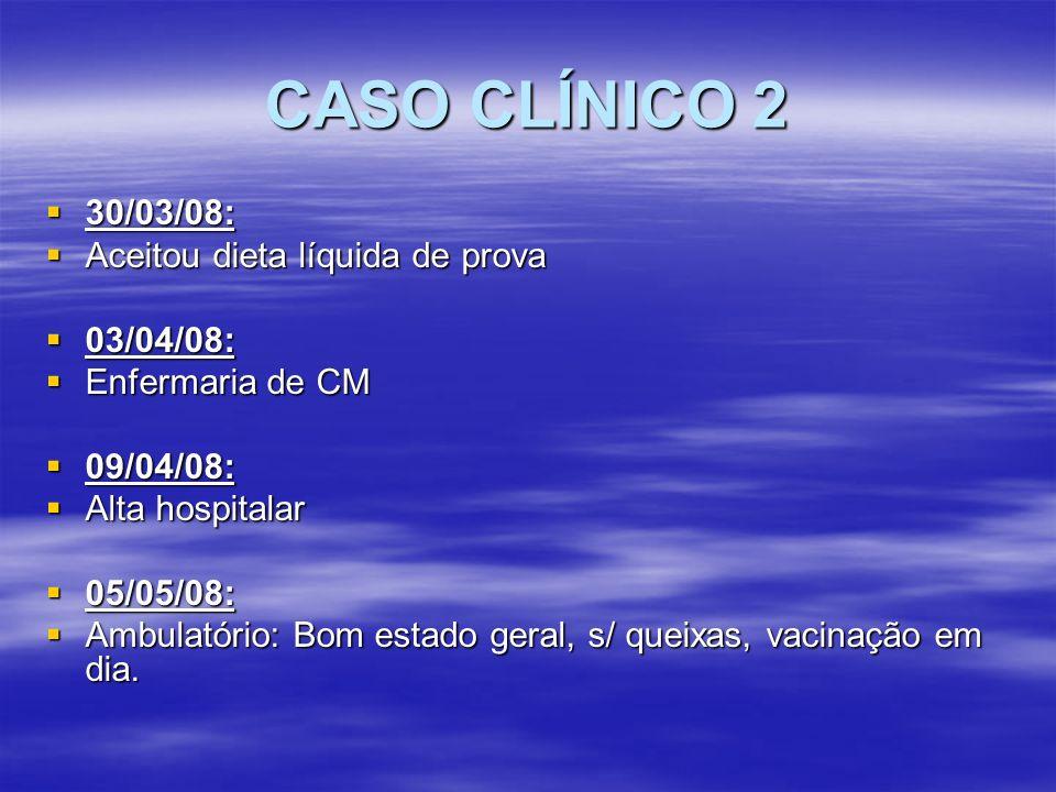 CASO CLÍNICO 2 30/03/08: 30/03/08: Aceitou dieta líquida de prova Aceitou dieta líquida de prova 03/04/08: 03/04/08: Enfermaria de CM Enfermaria de CM