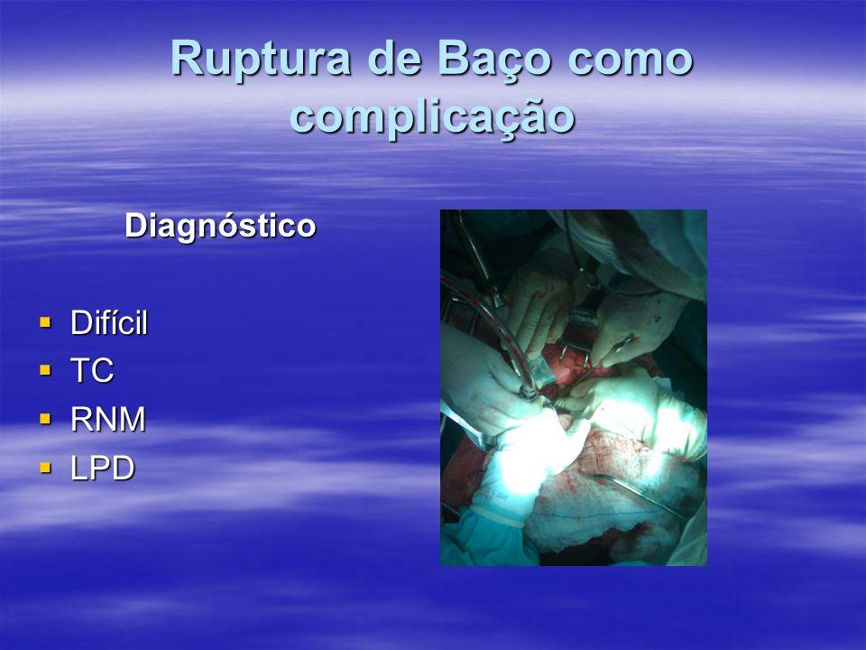 Ruptura de Baço como complicação Diagnóstico Difícil Difícil TC TC RNM RNM LPD LPD