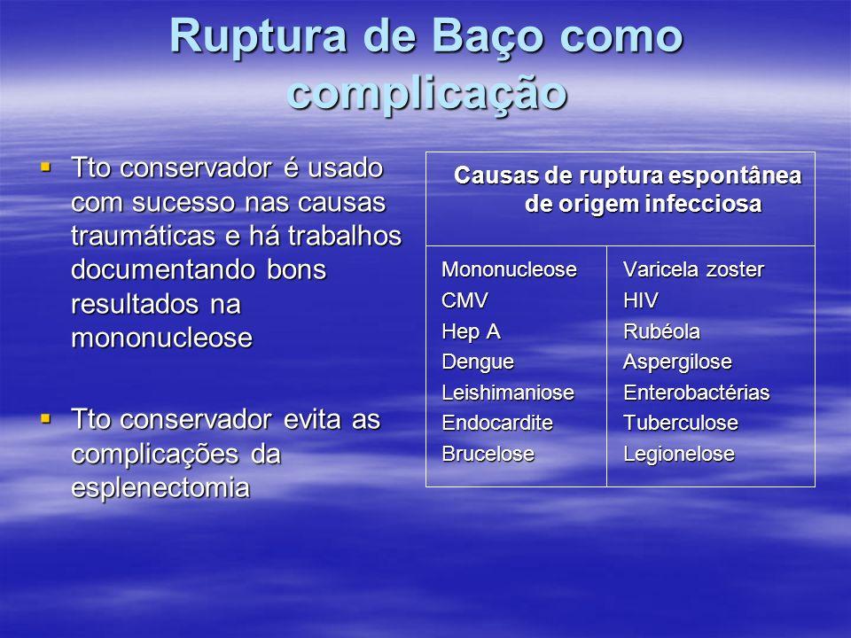 Ruptura de Baço como complicação Tto conservador é usado com sucesso nas causas traumáticas e há trabalhos documentando bons resultados na mononucleos