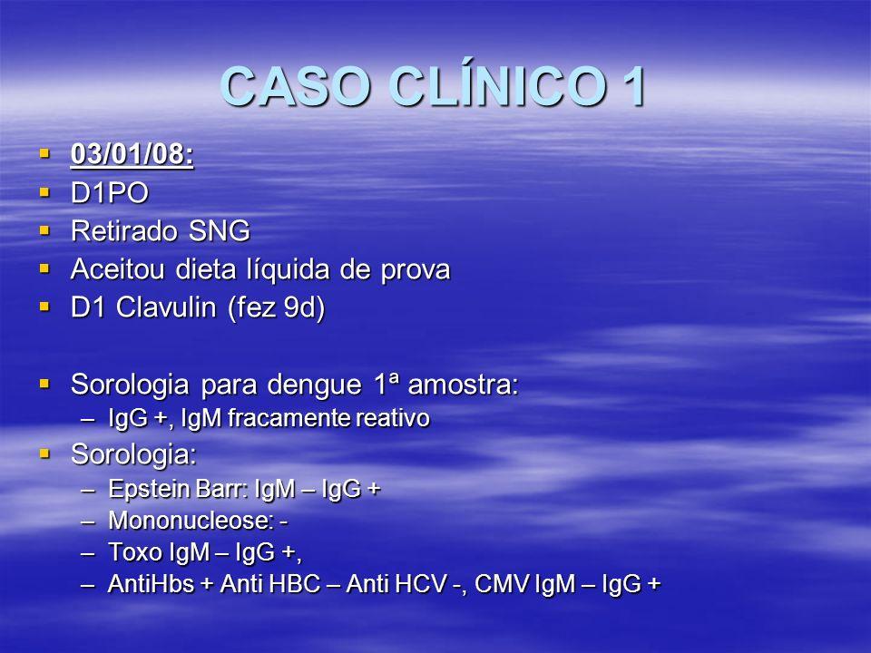 CASO CLÍNICO 1 04/01/08: 04/01/08: D2PO D2PO Admitido na UICIR estável hemodinamicamente, evacuando, recebeu 1 HC Admitido na UICIR estável hemodinamicamente, evacuando, recebeu 1 HC Evoluiu com queda do HTC Evoluiu com queda do HTC FC 130bpm, taquipneico, hipocorado (4+/4+), abd tenso, curativo sujo de sg FC 130bpm, taquipneico, hipocorado (4+/4+), abd tenso, curativo sujo de sg USG: imagem heterogênea com componente ecogênico e hipoecoico de aproximadamente 11,5cm no eixo longitudinal, ocupando loja esplênica sugerindo coágulo.